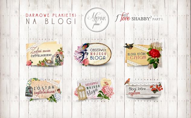 Plakietki na blogi — I love shabby
