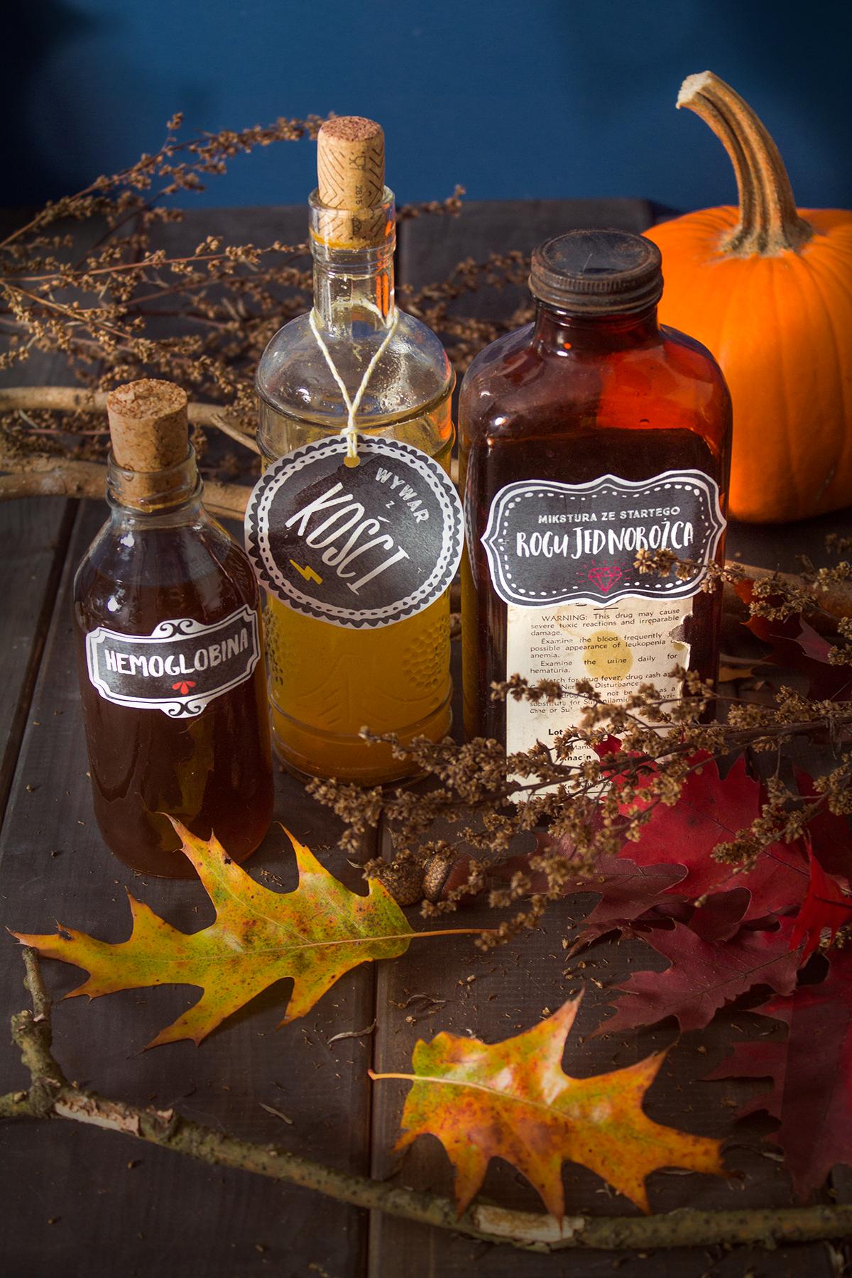 Halloween — etykiety na butelki