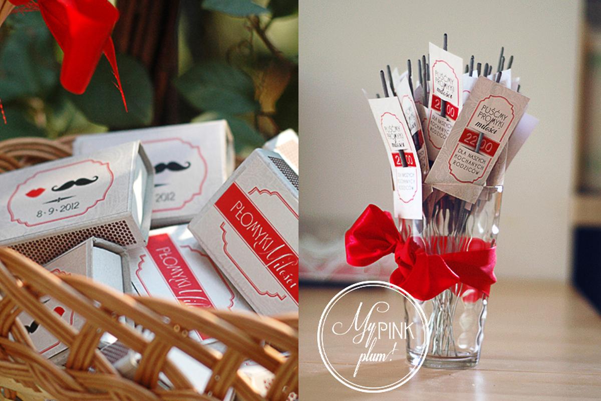 Ślubne dekoracje – etykietki na zapałki i zimne ognie