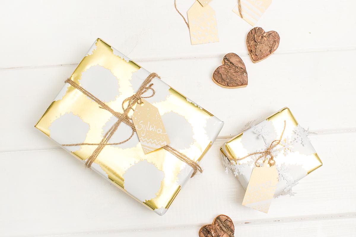 Złote etykietki na prezenty