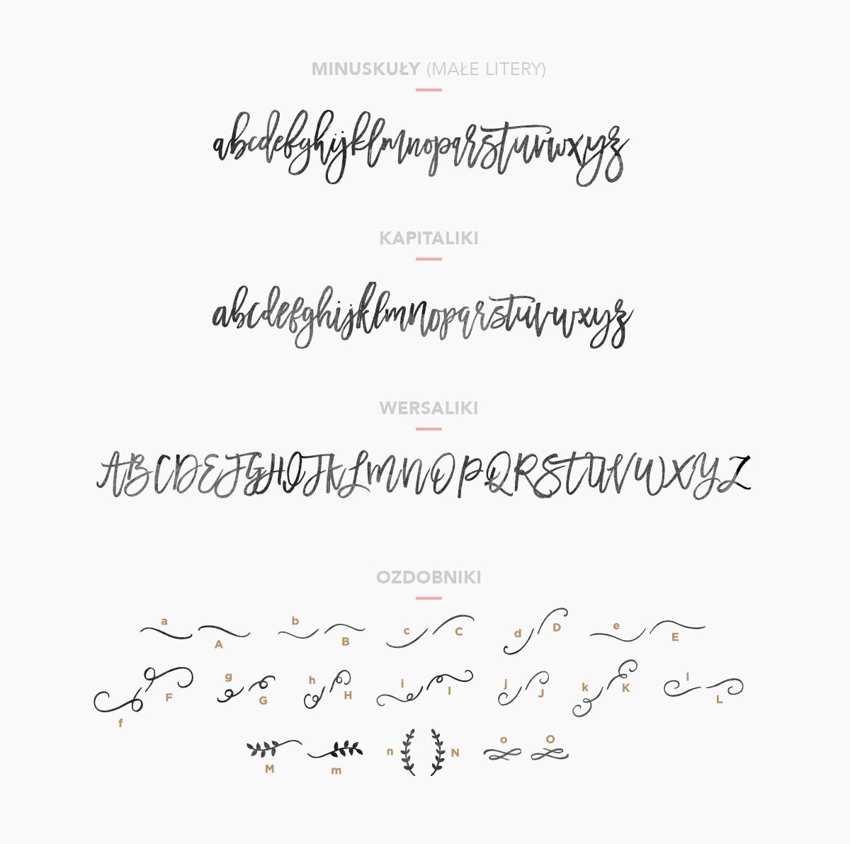 Ozdobniki kaligraficzne w fontach odręcznych