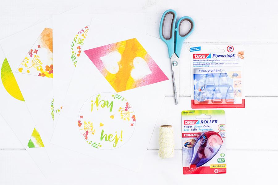 Girlanda wiosenna do druku + instrukcja montażu jak powiesić girlandę bez wiercenia w ścianie