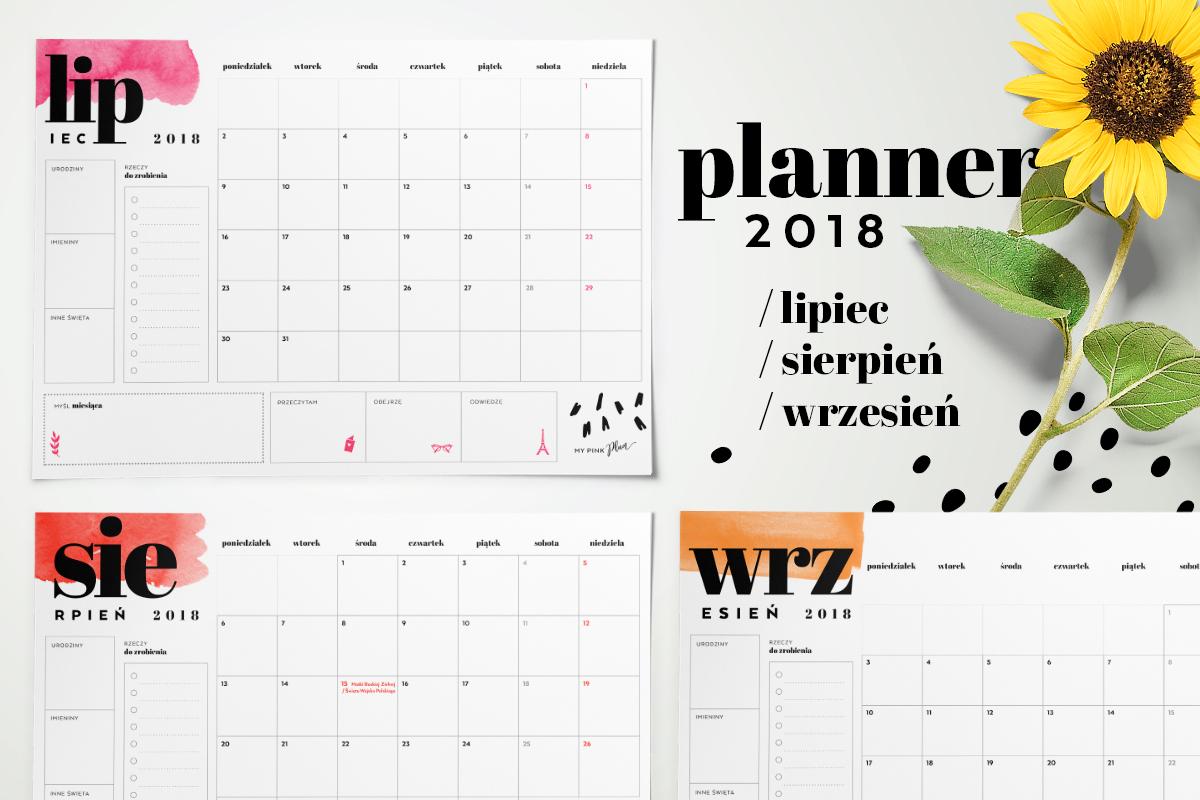 Planner miesięczny 2018 — lipiec, sierpień, wrzesień