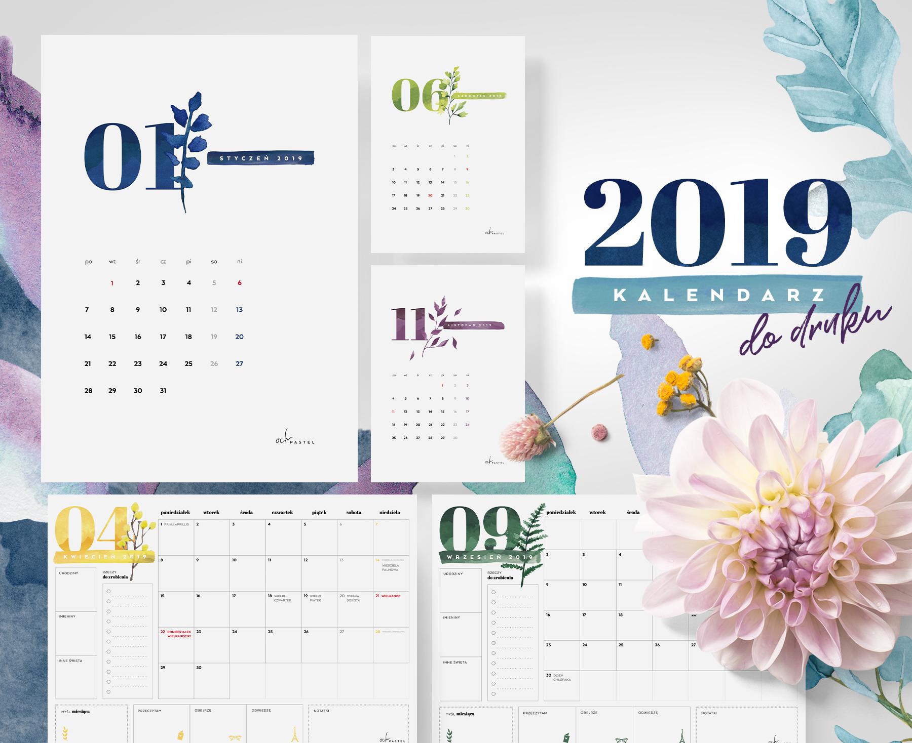 Kalendarz 2019 Do Druku My Pink Plum
