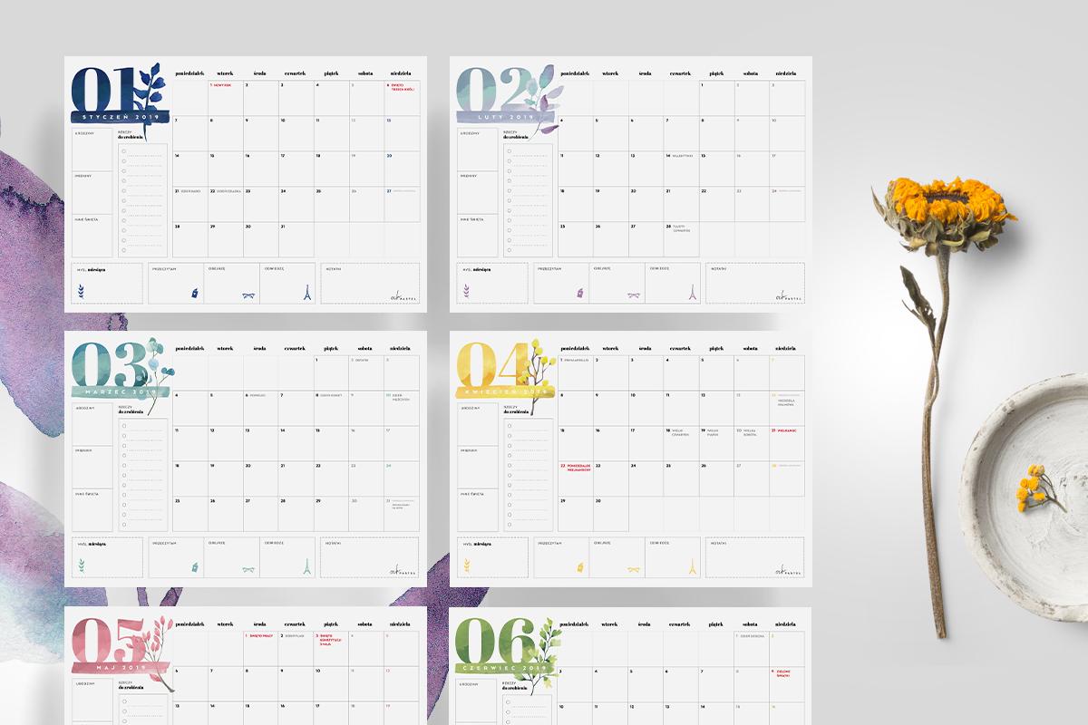 Kalendarz I Planery 2019 Do Druku Mega Paka My Pink Plum