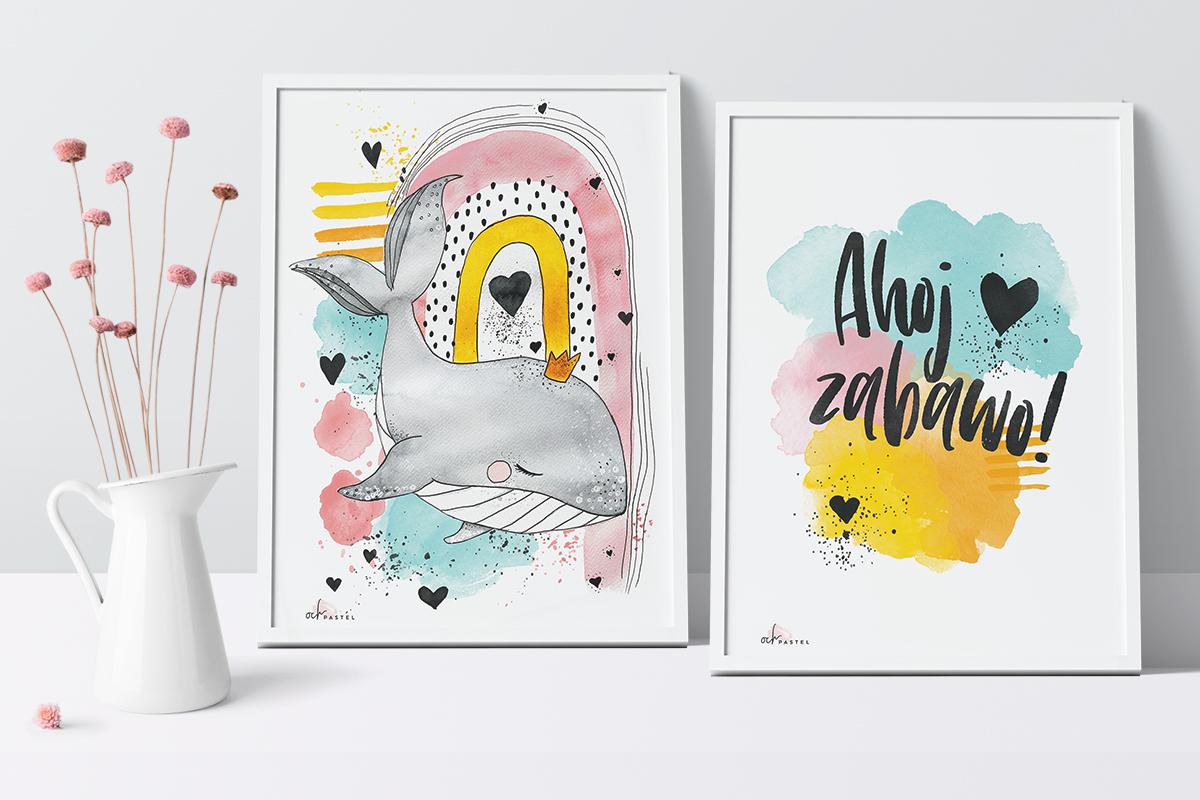 Akwarelowe plakaty do druku do pokoju dziecka