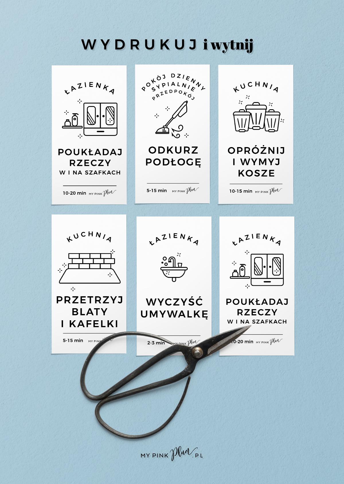 32 fiszki do druku do organizacji porządków