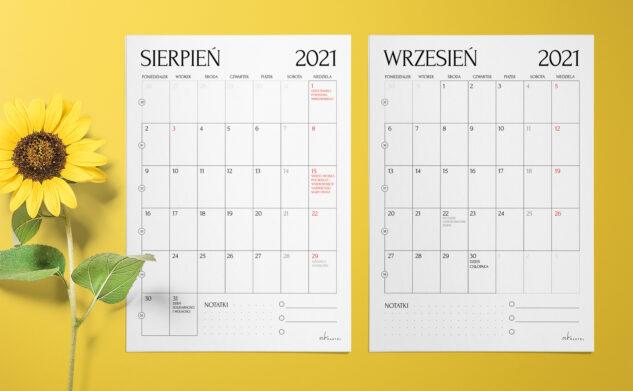 Planery miesięczne do druku — sierpień i wrzesień 2021